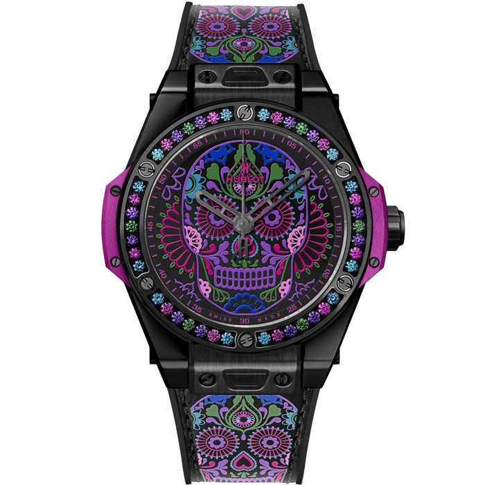 [추가비용없음] 위블로 Hublot Big 465.CX.1190.VR.1299.MEX18 Bang One Click Calavera Catrina Black Ceramic 39 mm