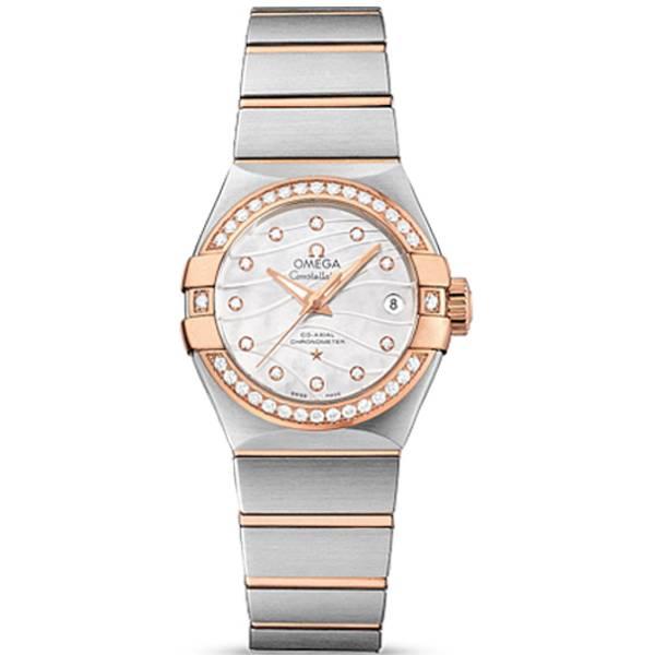 오메가 OMEGA 123.25.27.20.55.005 Constellation Brush Co-Axial 다이아몬드 시계 여성