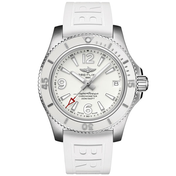 BREITLING A17316D21A1S1 Superocean 36 White Dial Rubber Strap Watch