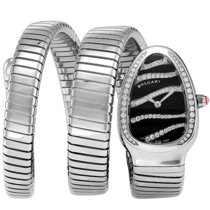 [추가비용없음] 불가리 BVLGARI SERPENTI SP35BDSDS.2T 블랙 / 다이아몬드 장식 여성