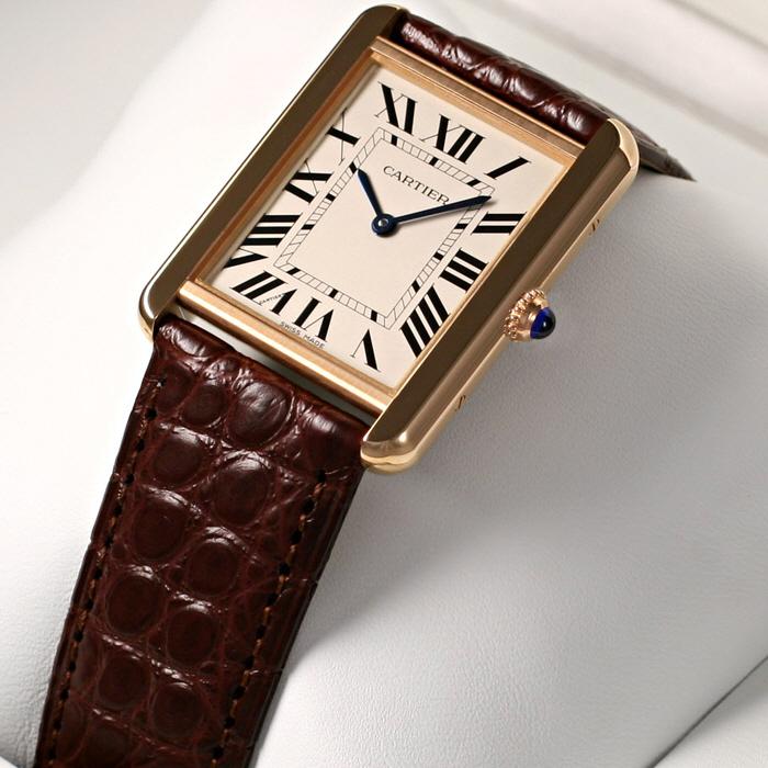 [추가비용없음] 까르띠에 Cartier W5200025 TANK SOLO WATCH PG LM SILVER