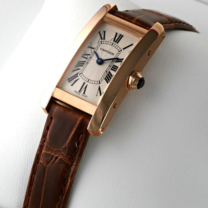 [추가비용없음] 까르띠에 Cartier W2607456 TANK AMERICAINE WATCH SM 18K PINK GOLD