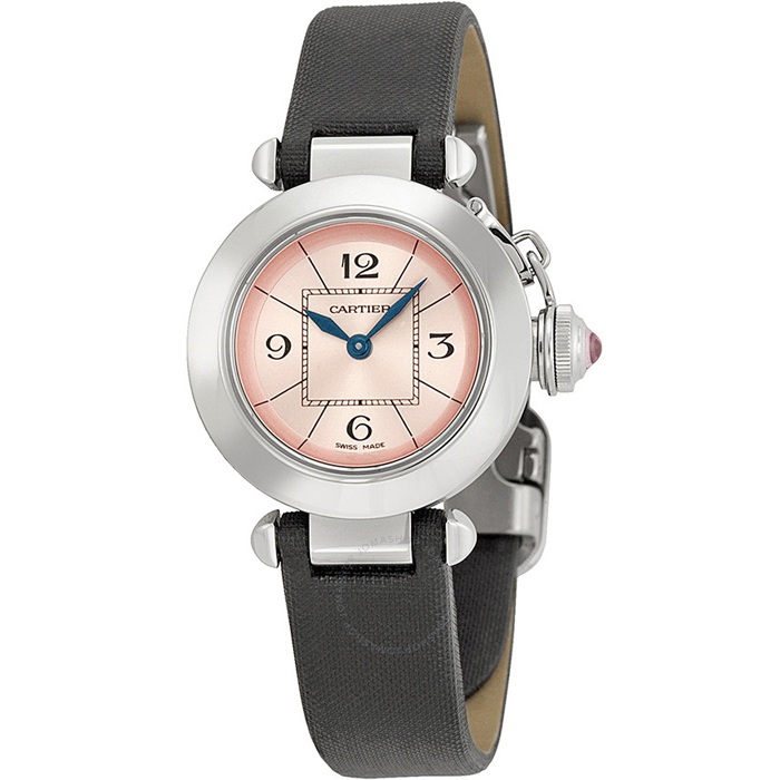[추가비용없음] 까르띠에 Cartier W3140026 Cartier Miss Pasha Pink Dial Satin Strap Ladies Watch W3140026