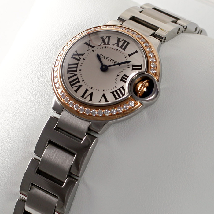 [추가비용없음] 까르띠에 Cartier WE902079 Ballon Bleu De Cartier 다이아몬드 베젤 28mm