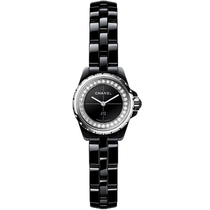 [추가비용없음] 샤넬 CHANEL H5235 J12 XS Black Ceramic Flange Set With Diamonds 여성시계