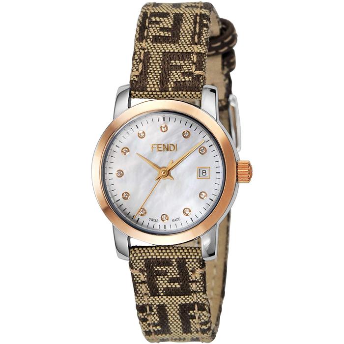 [추가비용없음] 펜디 FENDI 라운드 클라시코 다이아몬드 F218242DF 화이트 쉘 × 브라운