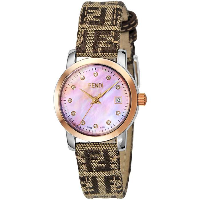 [추가비용없음] 펜디 FENDI 라운드 클라시코 다이아몬드 F218272DF 핑크 쉘 × 브라운