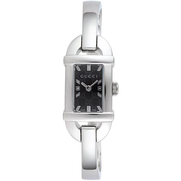[추가비용없음] 구찌 YA068587 GG Pattern Bangle Quartz SS Silver Black Dial 6800L Ladies Watch