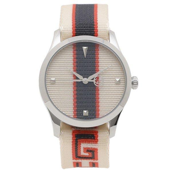 [추가비용없음] 구찌 YA1264071 G-Timeless 38mm Quartz White Blue Red Mens Watch