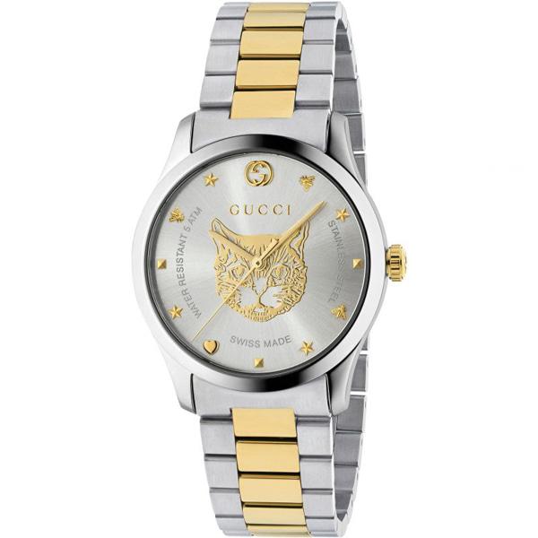 [추가비용없음] 구찌 YA1264074 G-Timeless Watch Two-Tone Stainless Steel 38mm Unisex Watch