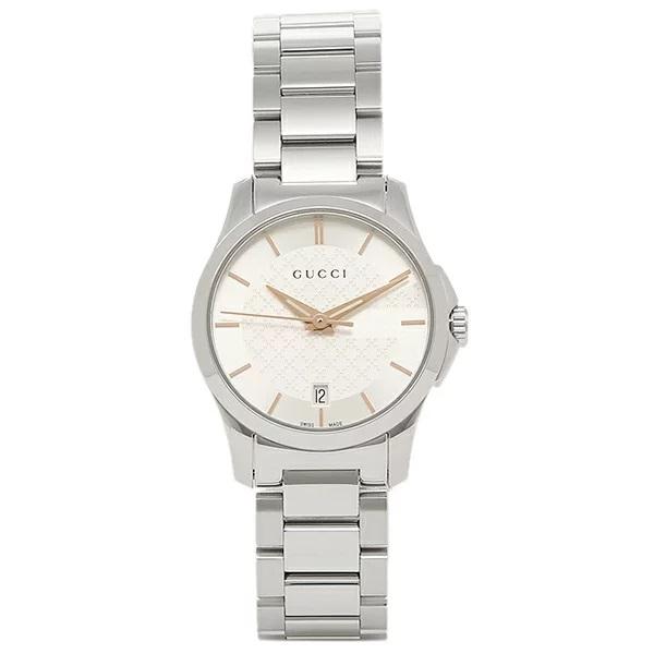 [추가비용없음] 구찌 YA126523 G Timeless White Silver 27mm Quartz Ladies Watch
