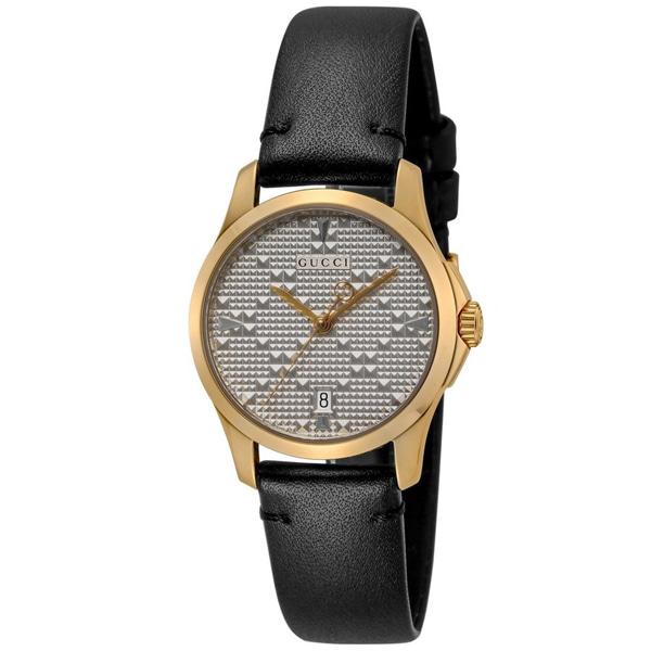 [추가비용없음] 구찌 YA126571 G Timeless 28mm Quartz Silver Black Ladies Watch