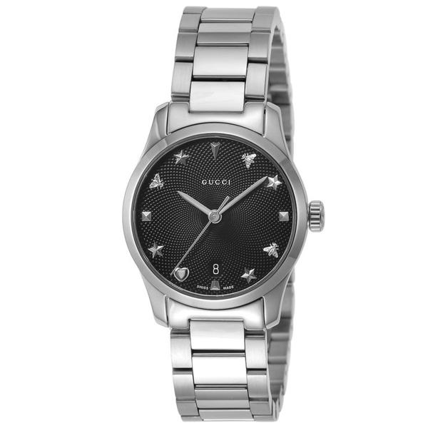 [추가비용없음] 구찌 YA126573 G Timeless Star Bee Date Black Dial Quartz 27mm Ladies Watch