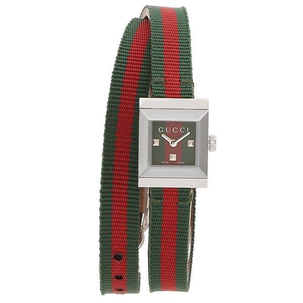 [추가비용없음] 구찌 YA128528 G Frame Double Winding Quartz Green Red Brown Ladies Watch