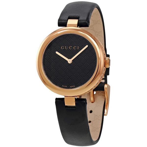 [추가비용없음] 구찌 YA141401 Diamantissima Analog Display Swiss Quartz Black Ladies Watch