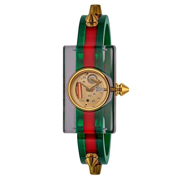 [추가비용없음] 구찌 YA143504 Vintage Web Skeleton Quartz Green Red Ladies Watch