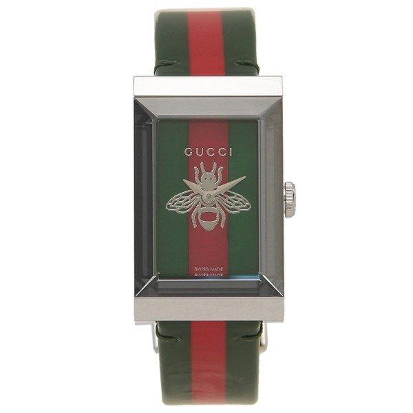 [추가비용없음] 구찌 YA147408 G Frame Quartz Floral Pearl Green Red Silver Ladies Watch