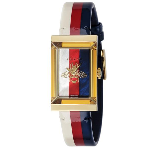 [추가비용없음] 구찌 YA147409 G Frame White Red Blue Ladies Watch
