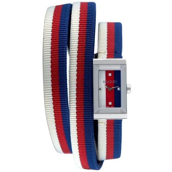 [추가비용없음] 구찌 YA147502 G Frame Nylon Belt Tricolor Dial Ladies Watch