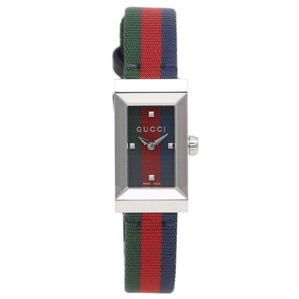 [추가비용없음] 구찌 YA147509 G Frame Web Stripe Quartz Green Red Navy Ladies Watch