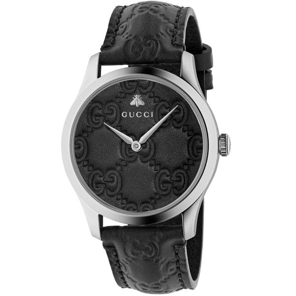 [추가비용없음] 구찌시계 GUCCI  YA1264031AG-Timeless Black Dial Black Leather Strap Unisex Watch