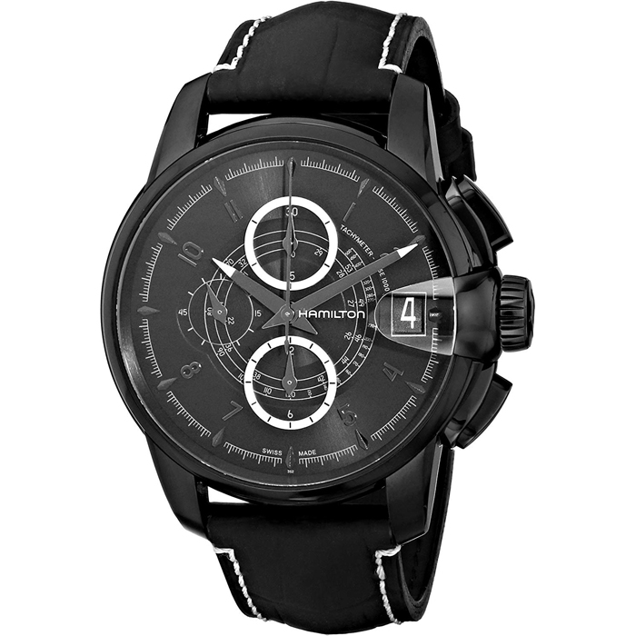 [추가비용없음] 해밀턴 Hamilton H40686335 Rail Road Black Chronograph Dial Watch
