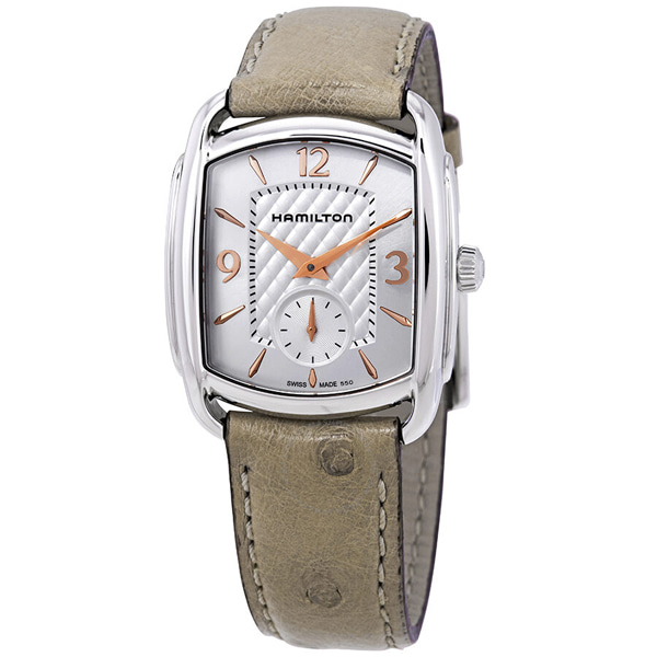 [추가금액없음] 해밀턴 HAMILTON H12451855 Bagley Silver Dial Beige Ostrich Leather Watch