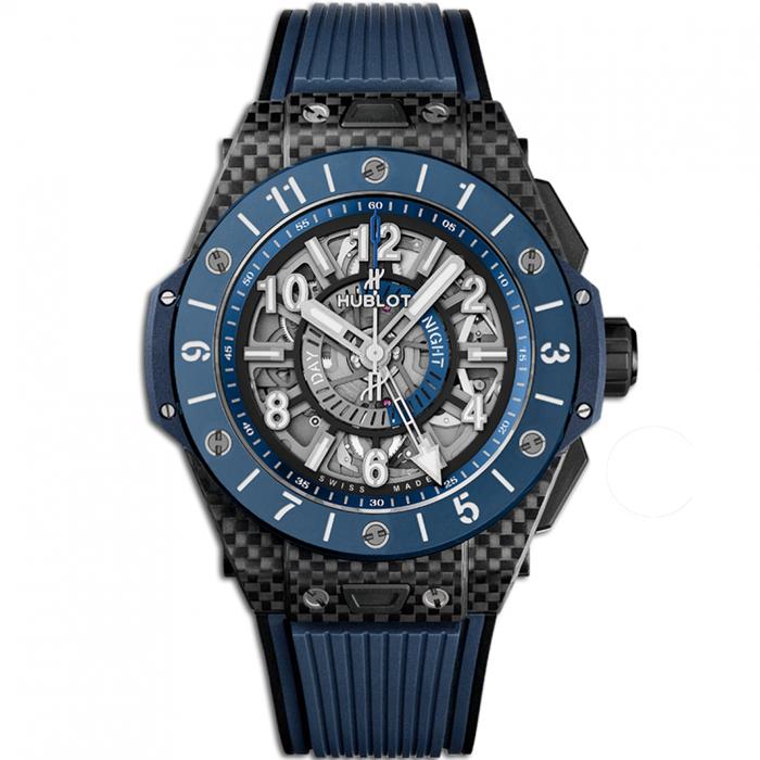 [추가비용없음] 위블로 HUBLOT 471.QL.7127.RX Big Bang Unico Gmt Carbon Blue Ceramic