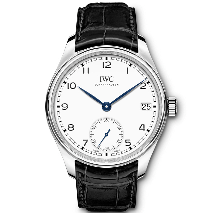 [추가비용없음] IWC IW510212 Portugieser stainless steel and leather chronograph watch