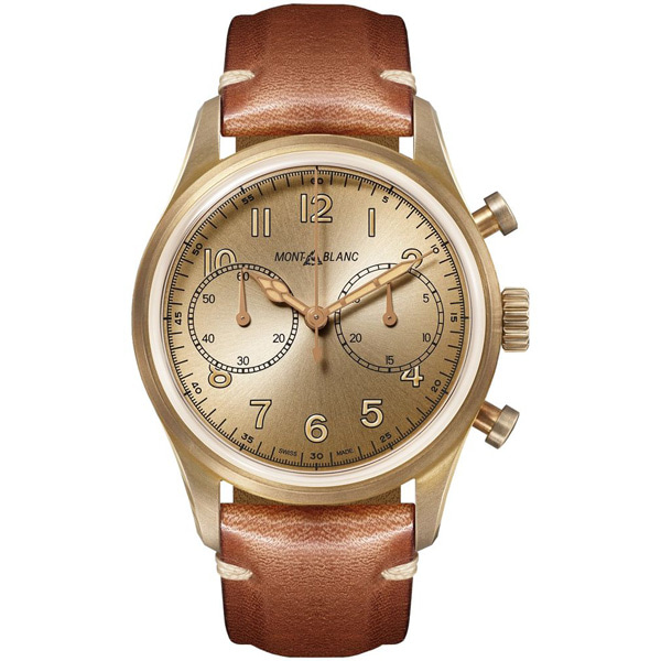 [추가비용없음] MONTBLANC 118223 Automatic 1858 Chronograph 42mm Bronze And Leather Watch