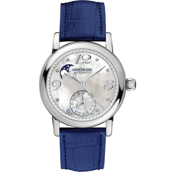 [추가비용없음] MONTBLANC 38275 Star Blue Leather Swiss Automatic Womens Watch