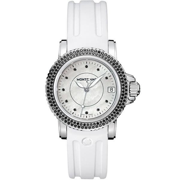 [추가비용없음] MONTBLANC 9650 Sports White Rubber Swiss Quartz Dress Watch
