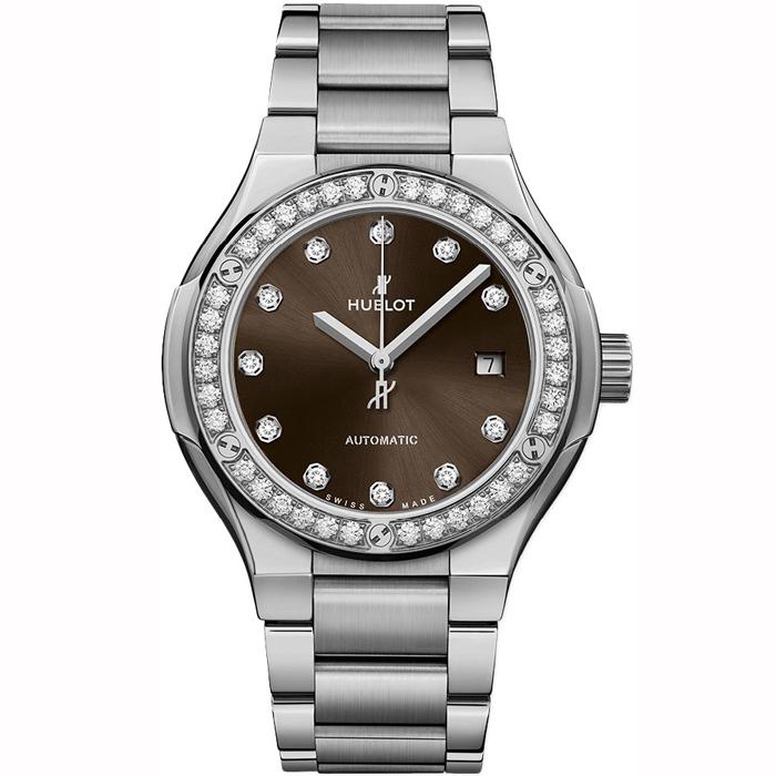 [추가비용없음] 위블로 HUBLOT 585.NX.897M.NX.1204 클래식 퓨전 티타늄 브라운 다이아몬드 여성시계