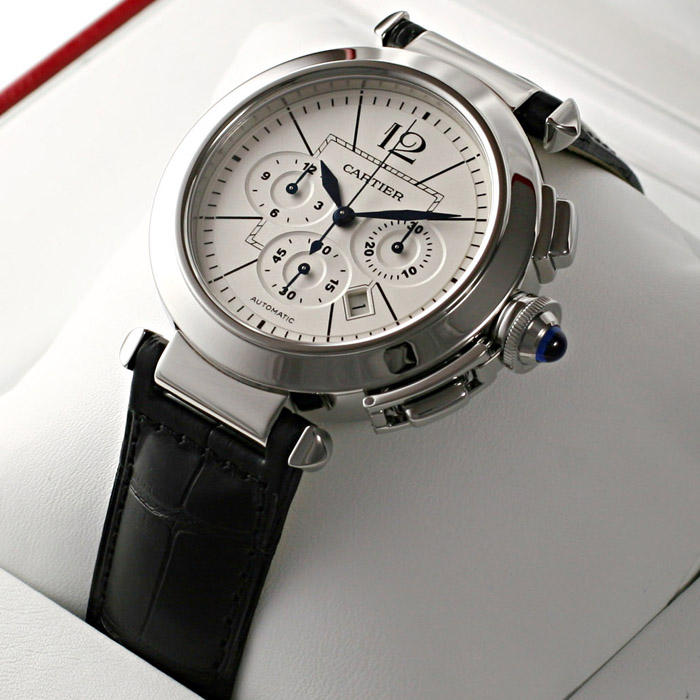 [추가비용없음] 까르띠에 Cartier Pasha W3108555 42mm Chronograph Silver