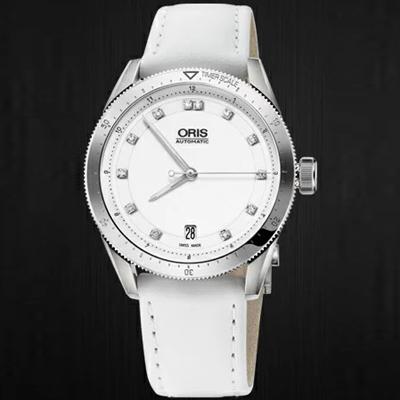 [추가비용없음] 오리스 ORIS Artix GT Date 화이트 (With12 포인트 다이아몬드) / 가죽 733.7671.41.91D