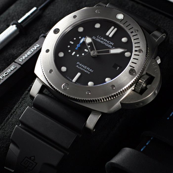[추가비용없음] 파네라이 PANERAI PAM01305 Luminor Submersible 1950 3 Days Titanio 47MM Black Dial Mens Watch